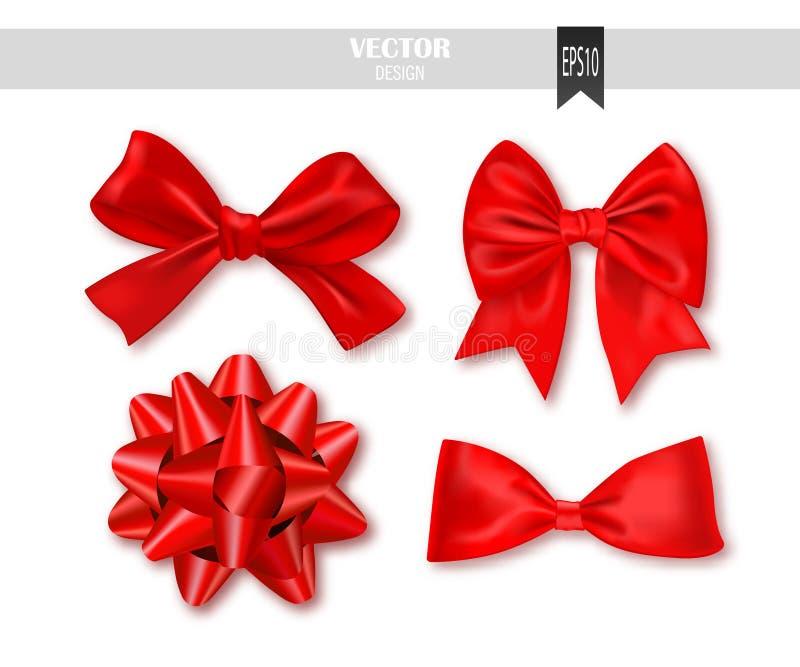 Conjunto de arqueamientos rojos del regalo con las cintas Ilustración del vector stock de ilustración