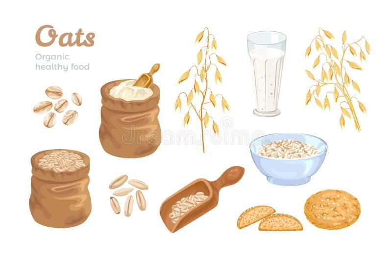 Conjunto de aveia Saco de farinha de aveia, grãos, colher com cereais, orelhas de milho, leite de aveia e biscoitos, flocos, tige ilustração do vetor