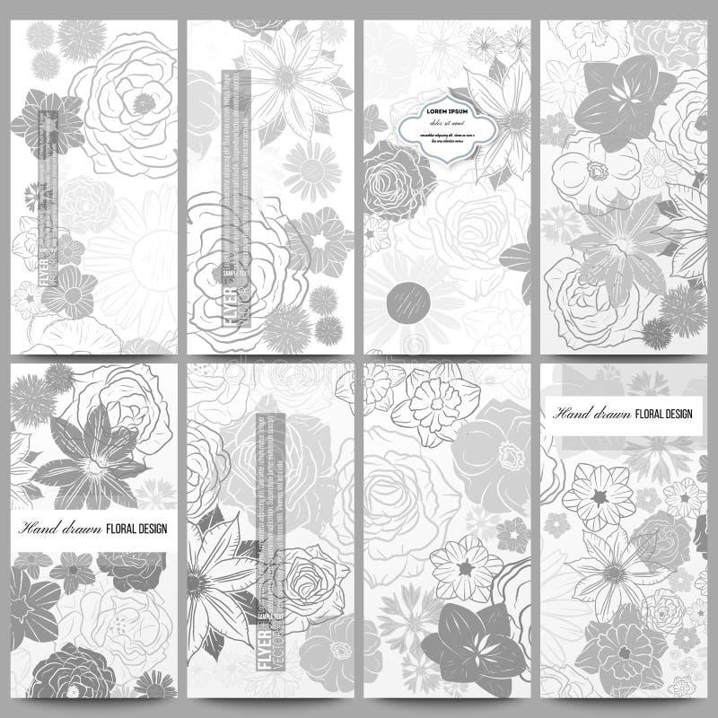 Conjunto de aviadores modernos Dé el modelo floral exhausto del garabato, fondo abstracto del vector stock de ilustración