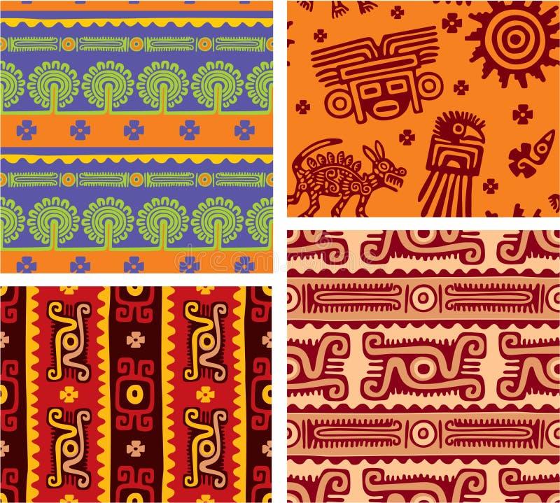 Conjunto de azulejos inconsútiles mexicanos ilustración del vector