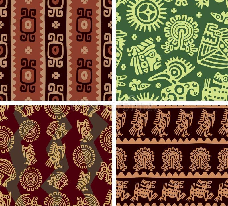 Conjunto de azulejos inconsútiles mexicanos stock de ilustración