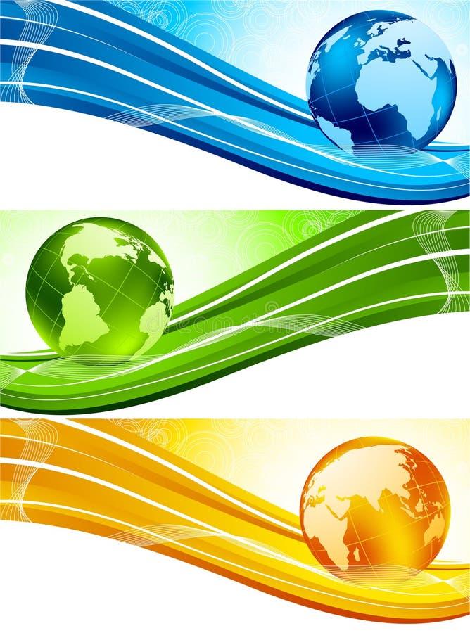 Conjunto de banderas con el globo stock de ilustración