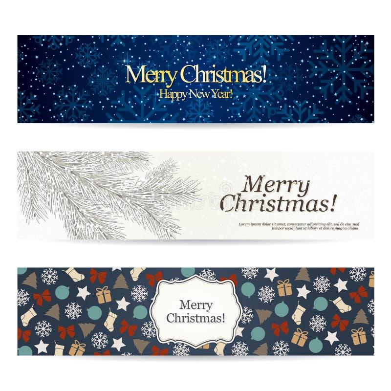Conjunto de banderas con estilo de la Navidad libre illustration