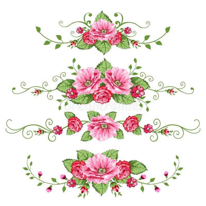 Conjunto de banderas de las rosas stock de ilustración