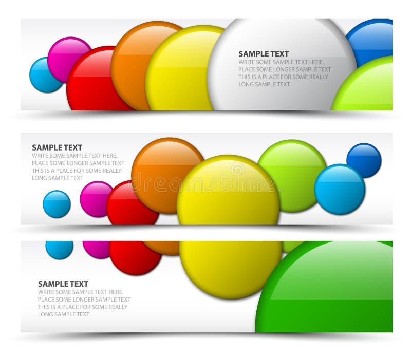 Conjunto de banderas horizontales con los círculos 3d ilustración del vector