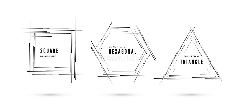 Conjunto de banderas Las líneas con pendiente monocromática crean el marco en la forma de formas geométricas Ilustraci?n del vect stock de ilustración