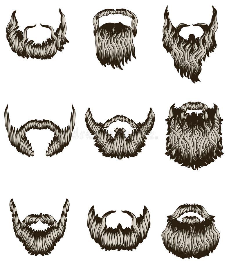 Conjunto de barbas drenadas mano ilustración del vector