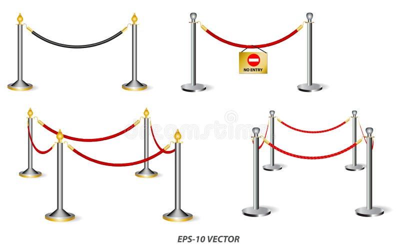 Conjunto de barricadas de oro o cuerda de barrera aislada imagenes de archivo