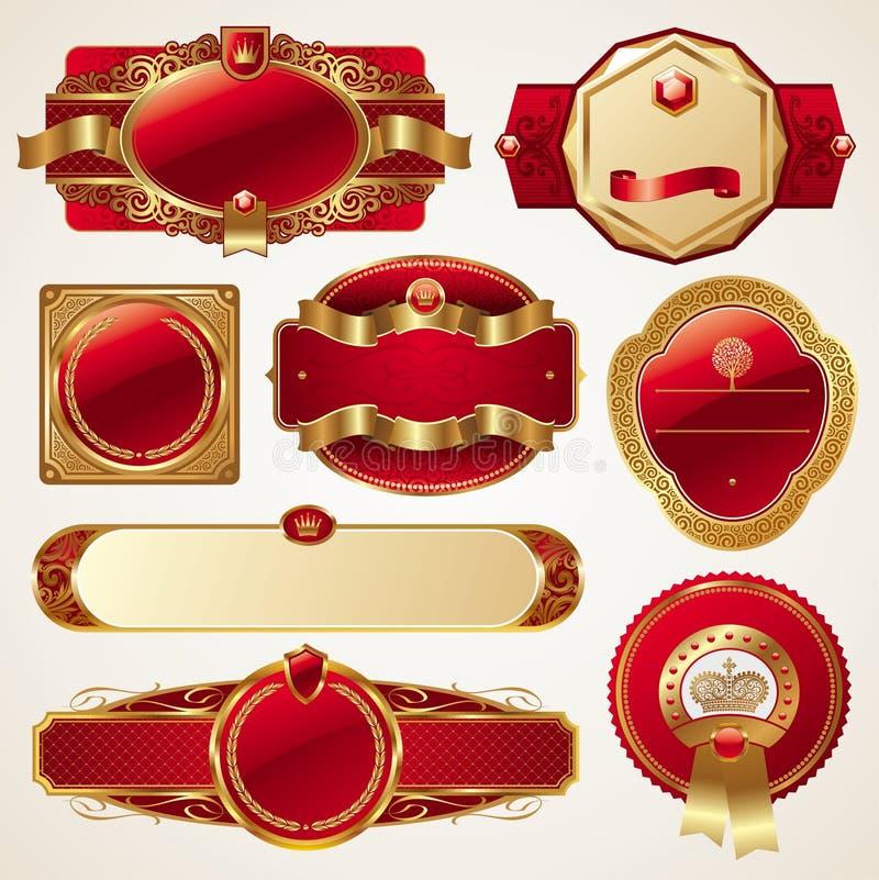 Conjunto de bastidores adornados de lujo de oro ilustración del vector