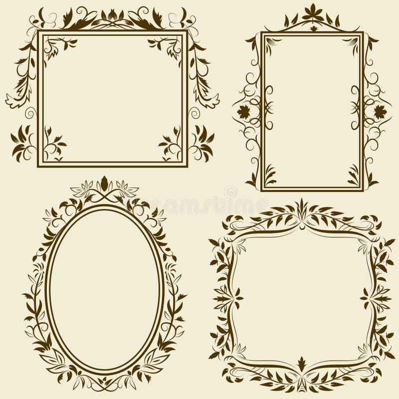 Conjunto de bastidores de la vendimia con el ornamento floral libre illustration