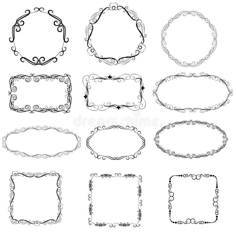 Conjunto de bastidores decorativos ilustración del vector