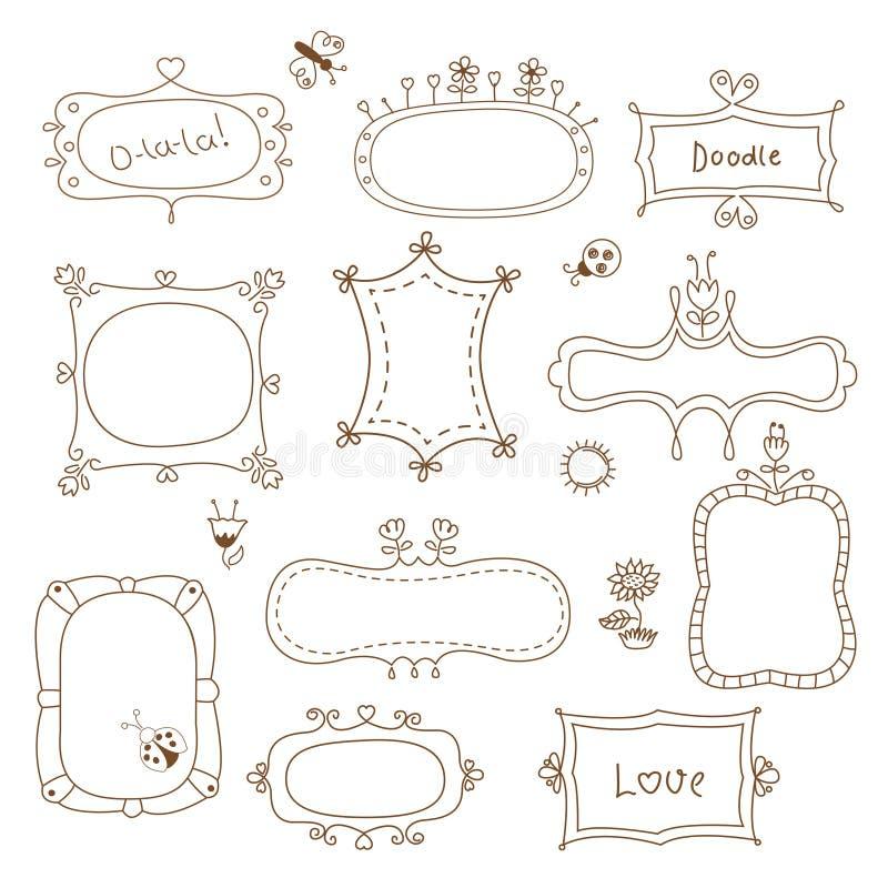 Conjunto de bastidores del doodle ilustración del vector
