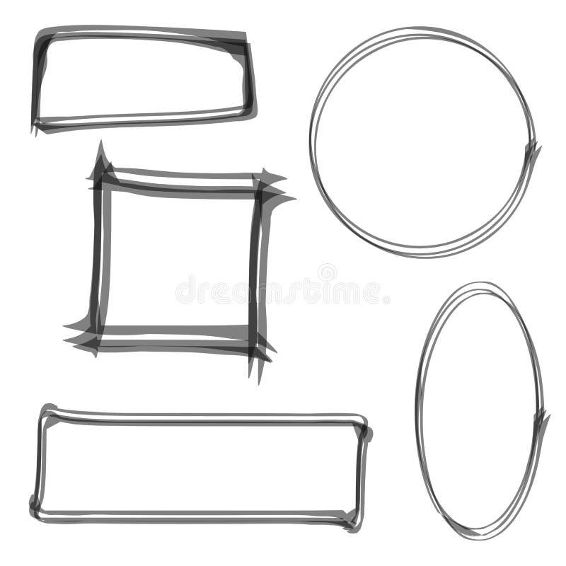 Conjunto de bastidores del vector Ribete de la acuarela Círculo a mano, cuadrado, rectángulo y óvalo Puede ser utilizado como ele libre illustration