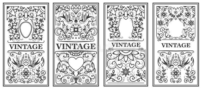 Conjunto de bastidores de la vendimia Diseñe los elementos para el cartel, emblema, muestra, tarjeta ilustración del vector