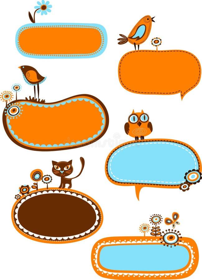 conjunto de bastidores retros dulces stock de ilustración
