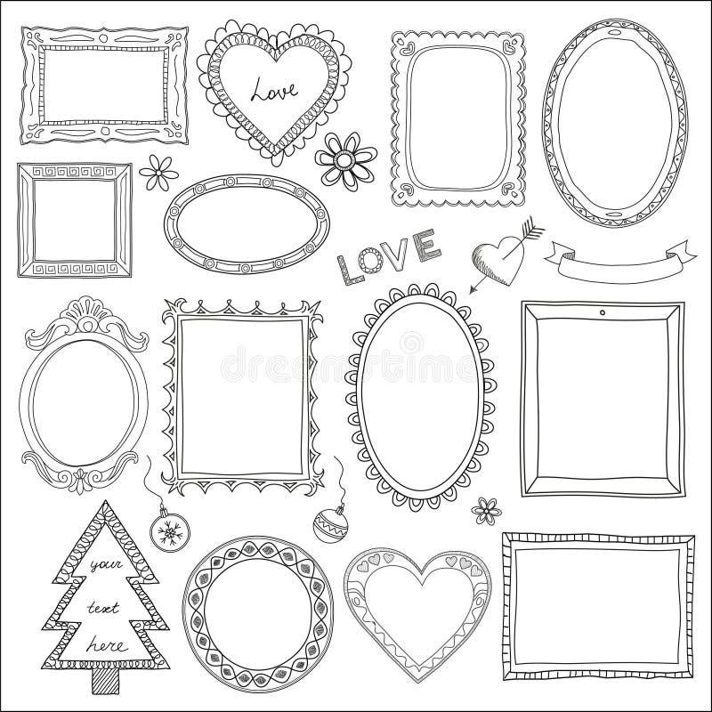 Conjunto de bastidores y de elementos del doodle ilustración del vector