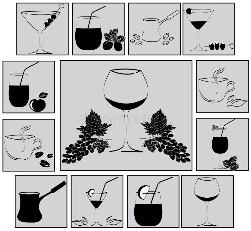 Conjunto de bebidas ilustración del vector