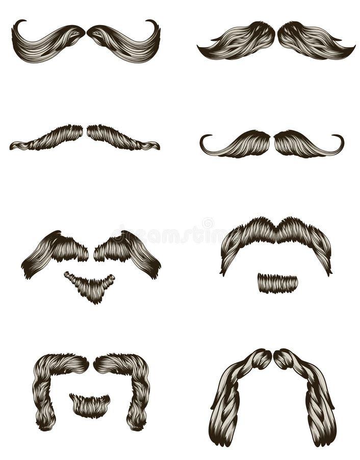 Conjunto de bigotes drenados mano libre illustration
