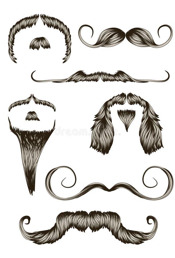 Conjunto de bigotes drenados mano ilustración del vector