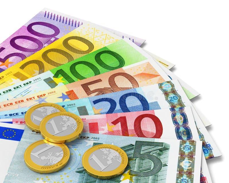 Conjunto de billetes de banco y de monedas euro ilustración del vector