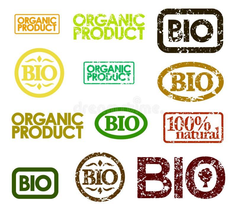 Conjunto de bio sellos stock de ilustración