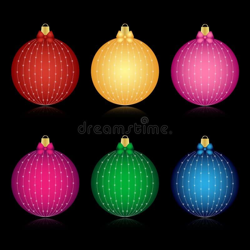 Conjunto de bolas adornadas de la Navidad stock de ilustración