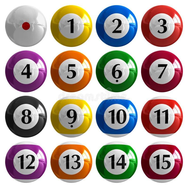 Conjunto de bolas de billar americanas del color stock de ilustración