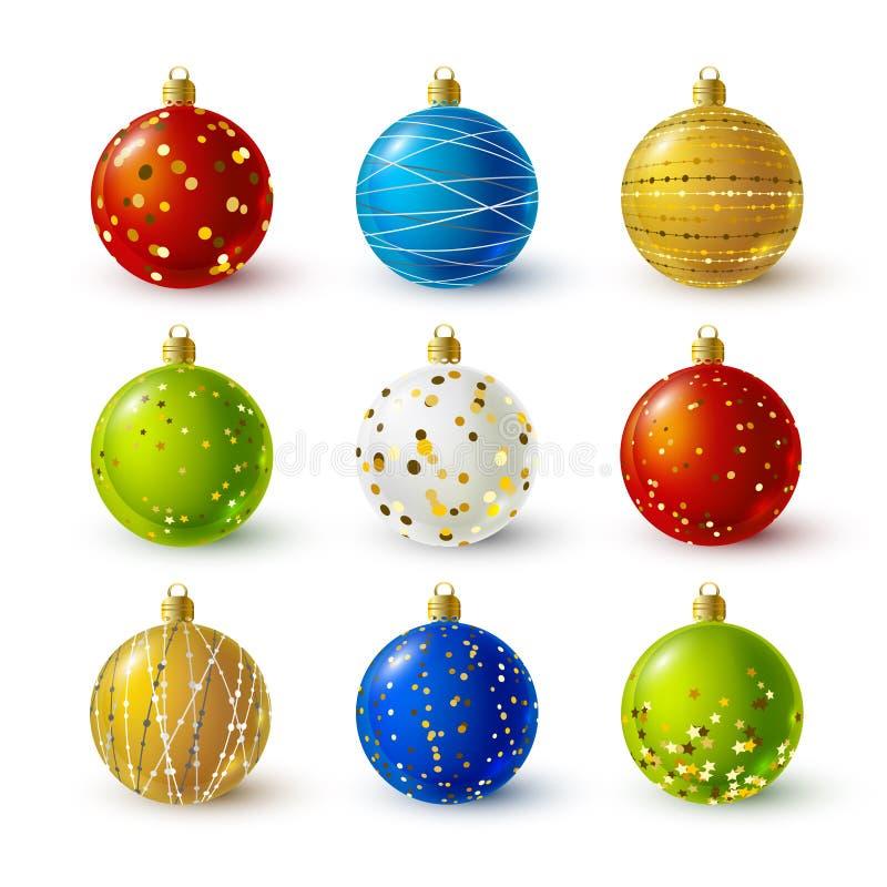 Conjunto de bolas de la Navidad del color stock de ilustración