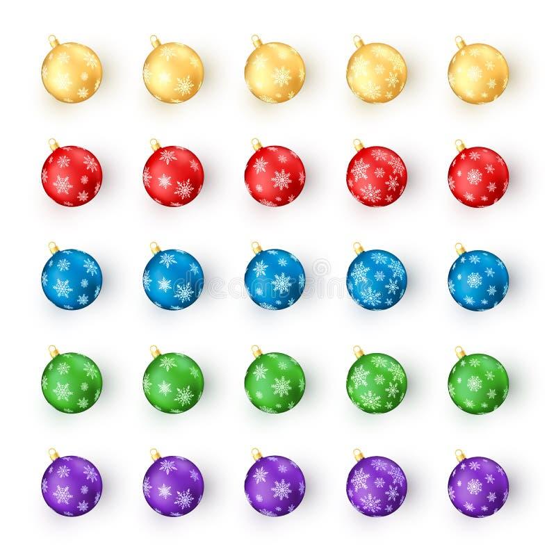 Conjunto de bolas de la Navidad en el fondo blanco Decoración de los juguetes de la Navidad colorida y del Año Nuevo por el copo  stock de ilustración