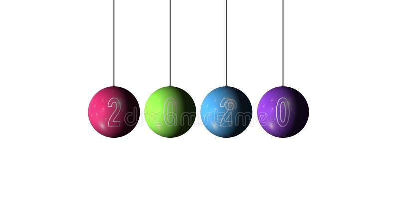 Conjunto de Bolas multicoloridas de Natal e Ano Novo e texto 2020 sobre fundo branco Feliz Natal e um Feliz Novo imagem de stock royalty free