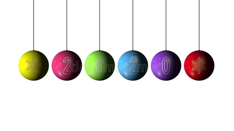 Conjunto de Bolas de Natal e Ano Novo multicolores com floco de neve dourado e texto 2020 sobre fundo branco Merry imagens de stock royalty free