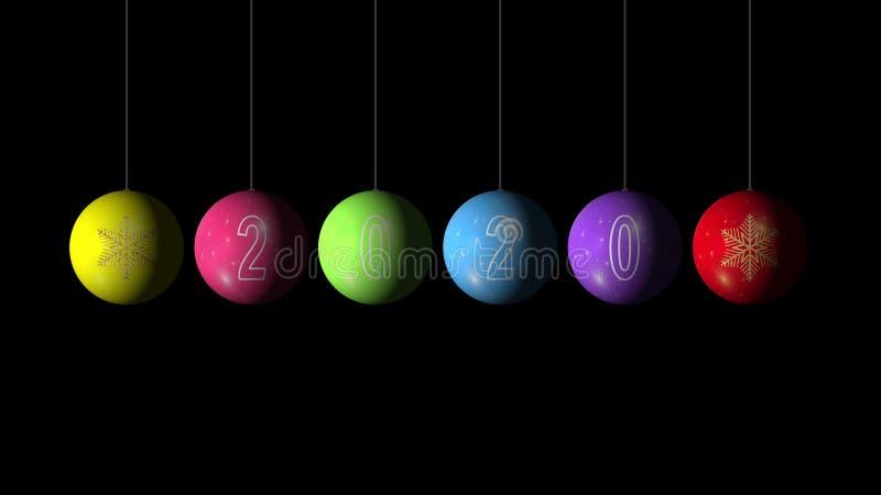 Conjunto de Bolas de Natal e Ano Novo multicolores com floco de neve dourado e texto 2020 sobre fundo negro Merry foto de stock royalty free