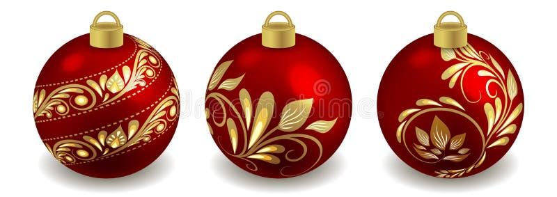 Conjunto de bolas de Navidad objetos aislados sobre fondo blanco, rojo con adorno dorado Juguetes para diseño de árbol de Año Nue ilustración del vector