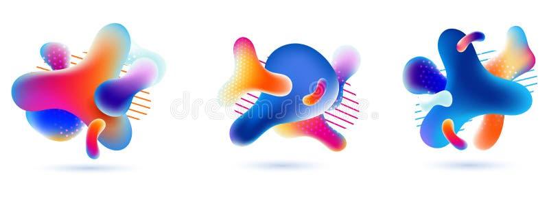 Conjunto de bolhas líquidas de cor multi-gradiente de abstrato de arte fluida ilustração do vetor