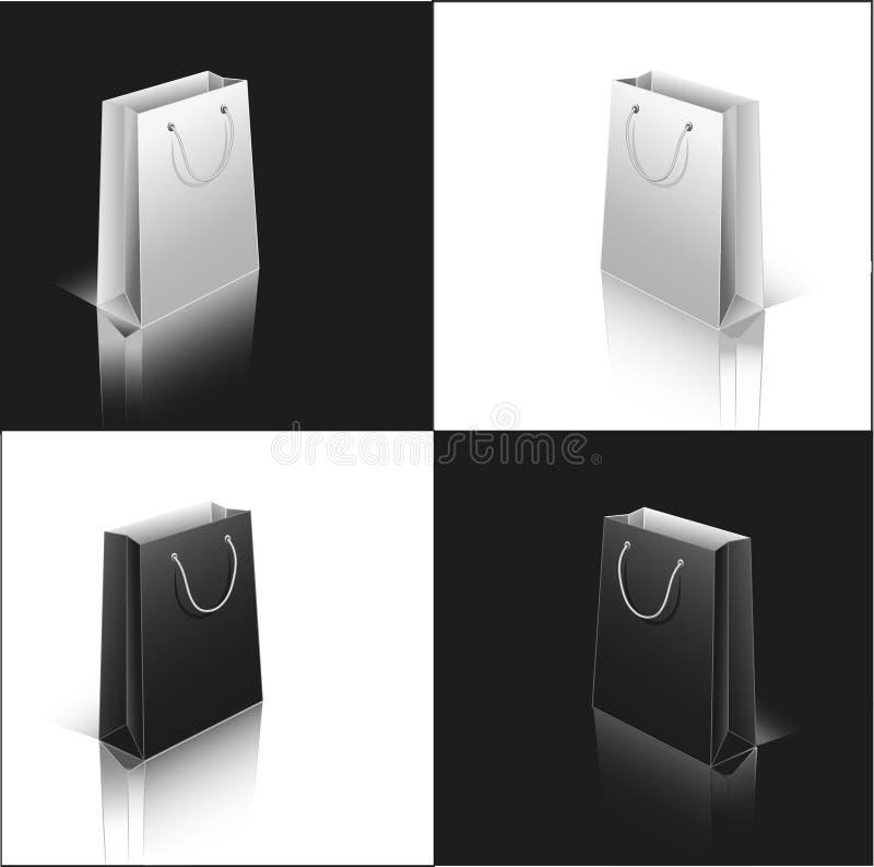 Conjunto de bolsas de papel blancas y negras foto de archivo