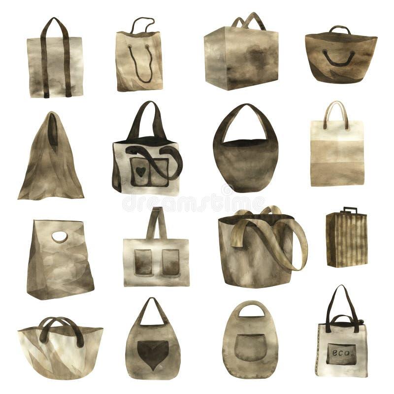 Conjunto de bolsas ecológicas pintadas con acuarela en papel. Patrón dibujado a mano. Ilustración vintage de corte libre illustration