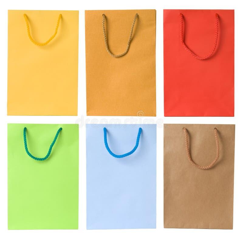 Conjunto de bolsos de compras foto de archivo