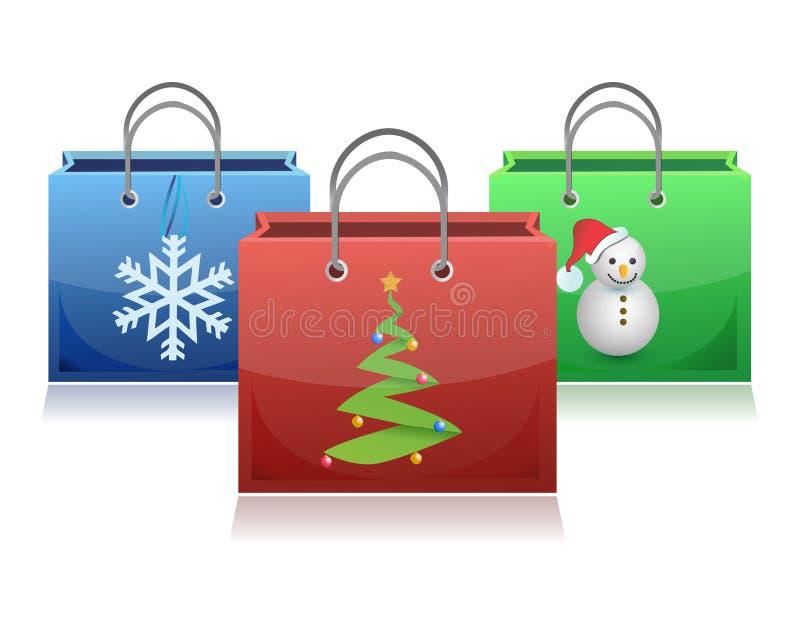 Conjunto de bolsos de compras de la Navidad stock de ilustración
