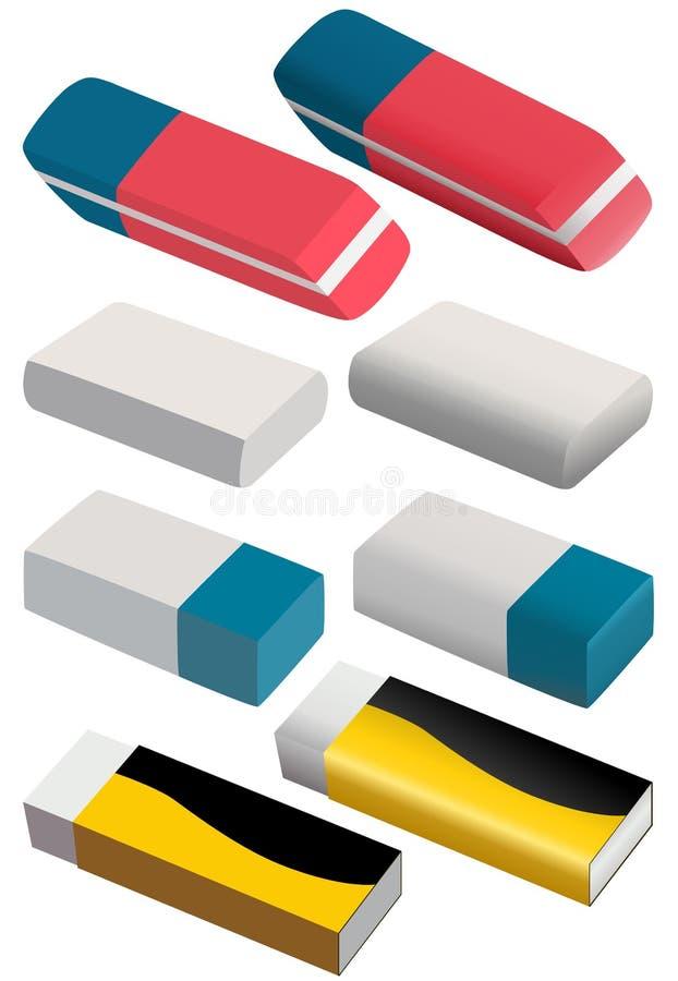 Conjunto de borradores de diferente color y forma libre illustration