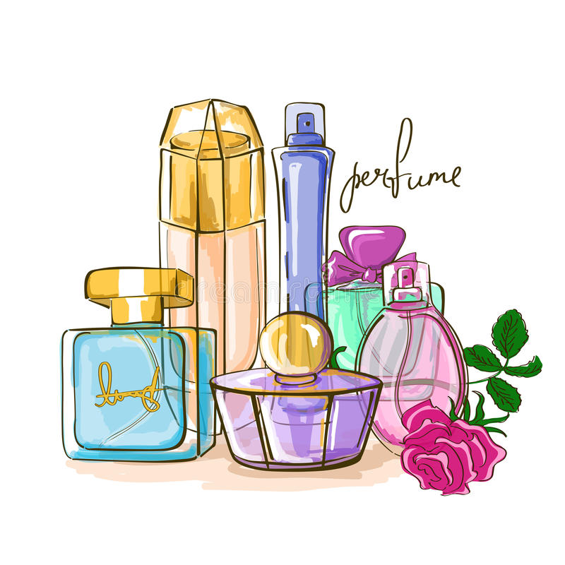 Conjunto de botellas de perfume libre illustration