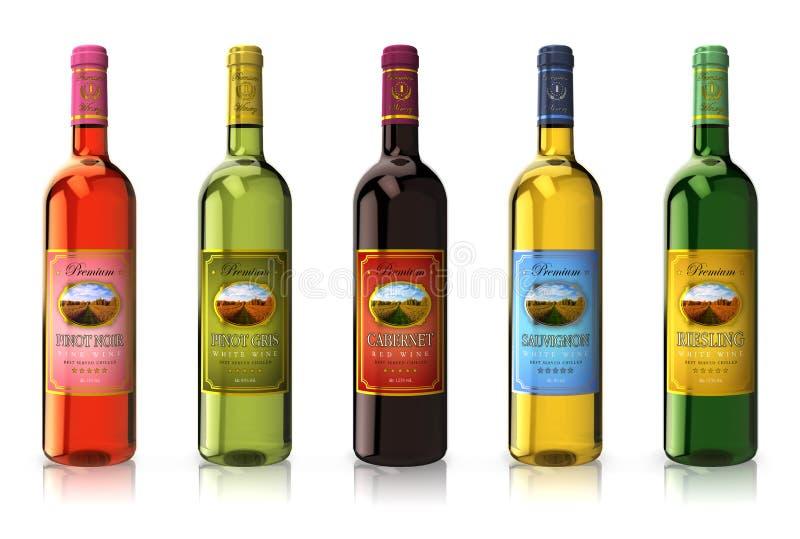 Conjunto de botellas de vino stock de ilustración