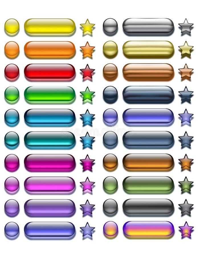 Conjunto de botones claros del Web ilustración del vector