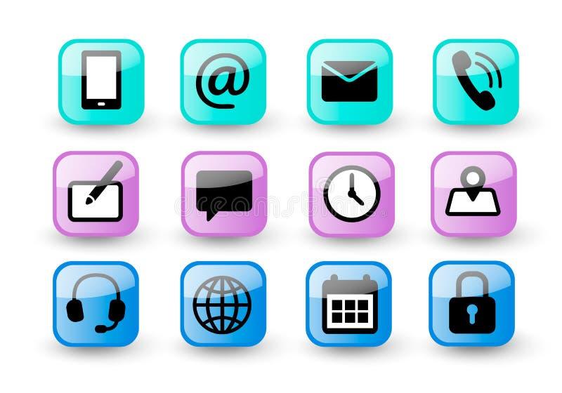 Conjunto de botones de color brillante de contacto con nosotros e iconos de comunicación web. Iconos vectoriales planos simples y stock de ilustración