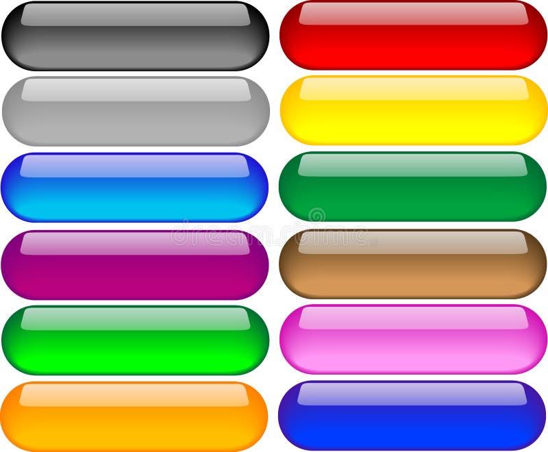 Conjunto de botones coloreados ilustración del vector