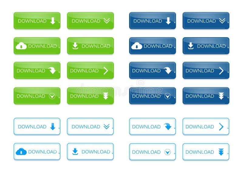 Conjunto de botones de la transferencia directa stock de ilustración