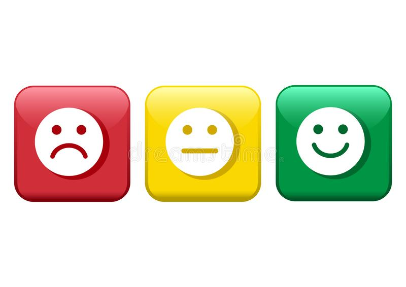 Conjunto de botones Humor negativo, neutral y positivo, diverso de los smiley del icono rojo, amarillo, verde de los emoticons Ve libre illustration