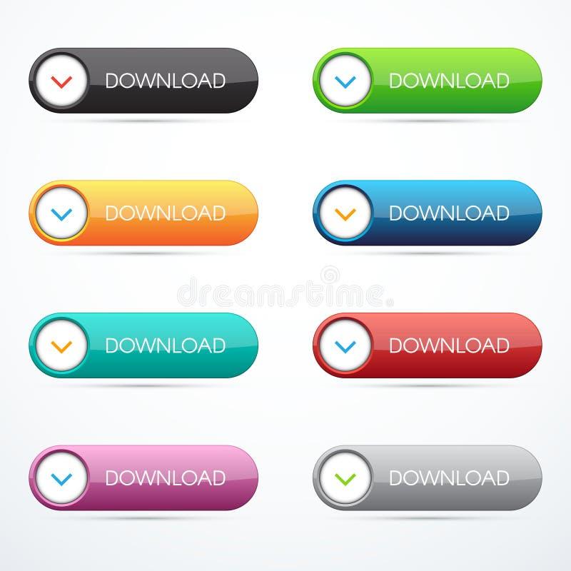 Conjunto de botones de la transferencia directa ilustración del vector