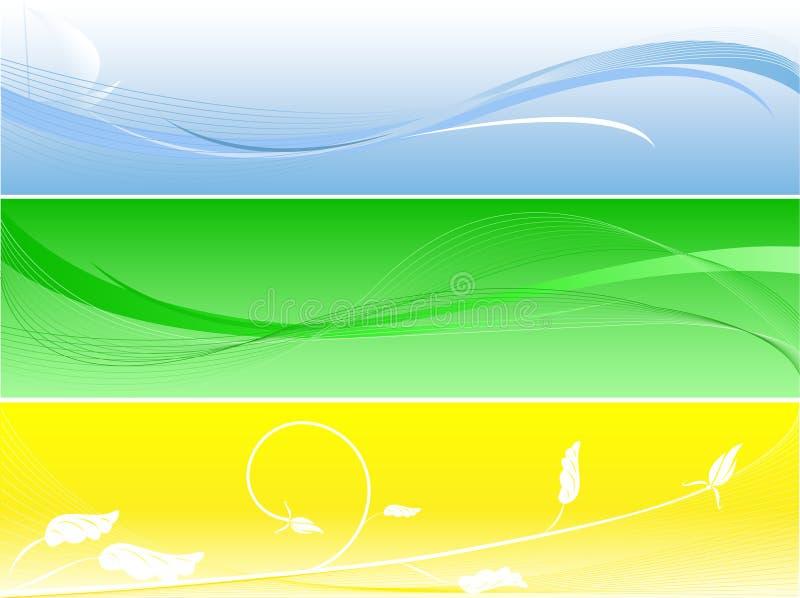 Conjunto de bunners modernos brillantes del verano ilustración del vector