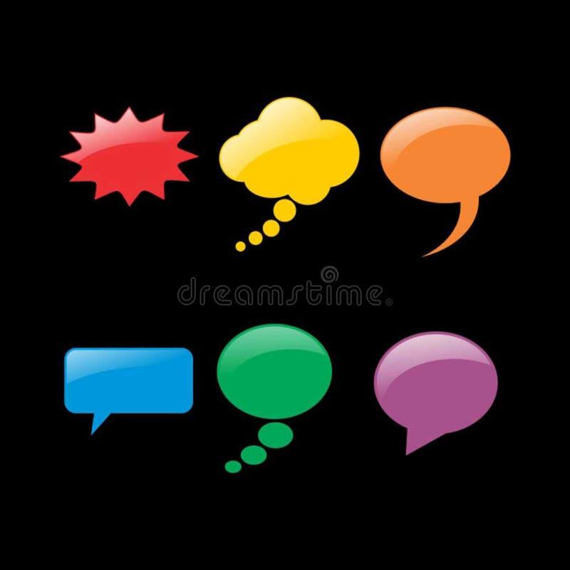 Conjunto de burbujas coloridas del discurso stock de ilustración