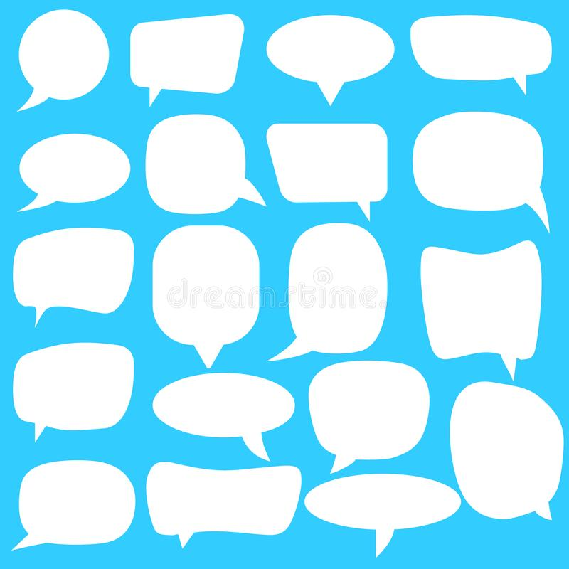 Conjunto de burbujas del discurso Burbujas blancas del discurso del vector vacío en blanco Diseño de la palabra del globo de la h stock de ilustración